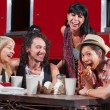 Laughing Friends Eating Pizza — Stock Photo #21822313