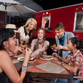 Laughing Group Eat at Canteen — Stock Photo