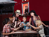 Hipsters at Mobile Pizza Shop — Stock Photo