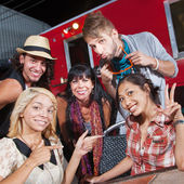 Cute Group at Food Truck — Stock Photo