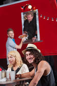 Smiling Man with Friends at Food Truck — Stok fotoğraf