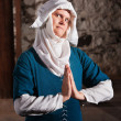 Sinister Nun in Prayer — Stock Photo