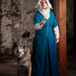 Insulted Nun with Dog — Stock Photo