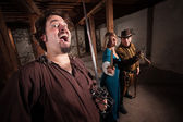 Crazy Swashbucklers with Weapons — Stock Photo