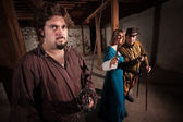 Aggressive Medieval Characters — Stock Photo