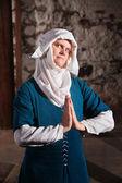 Sinister Nun in Prayer — Stock Photo