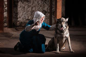 Nun Talking to Dog — Stock Photo