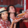 Cute Woman with Pizza Order — Stock Photo
