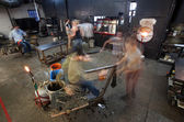 Busy Workers in Glass Workshop — Stock Photo