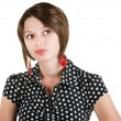 Thinking Lady in Polka Dots - Stock Photo