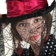 Lady in Spider Web Hat — Stock Photo