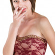 Embarrassed Woman in Red Dress — Stock Photo #23787903
