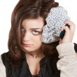 Sad Woman with Ice Pack — Stock Photo