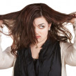 Woman Pulling Messy Hair — Stok fotoğraf