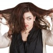 Woman Pulling Messy Hair - Stock Photo