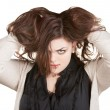 Woman Holding Messy Hair — Stockfoto