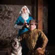 Medieval Characters with Dog — Stock Photo