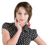 Donna seria con il dito sulla guancia — Foto Stock