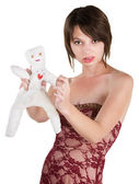 Angry Lady with Voodoo Doll — Stock Photo