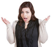 Shocked Woman with Hands Up — Stock Photo