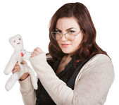 Mad Lady Sticking Doll — Stock Photo