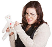Offended Lady with Voodoo Doll — Stock Photo
