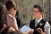 Partners Reading Marriage Vows — Stock Photo