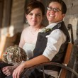 Newlywed Couple on Antique Bench — Stock Photo