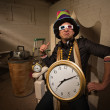 Poser in Large Hat and Clock — Stock Photo