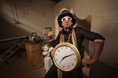 Poser in Large Hat and Clock — Foto Stock