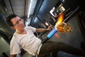 Man Creating Glass Object — Stock Photo