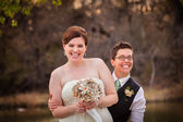 Gay Newlyweds Laughing — Stock Photo