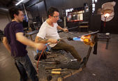 Glass Workers Using Blowtorch — Stock Photo