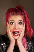 Startled Woman with Pink Hair — Stockfoto