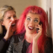 Yelling at Teenage Girl on Phone — Stok fotoğraf