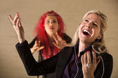 Rude Woman Singing — Stock Photo