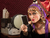 Roztomilý tarot čtečka karet — Stock fotografie