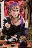 Woman Dealing Tarot Cards — Stock Photo