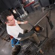 Artisan Handling Hot Glass — Stock Photo