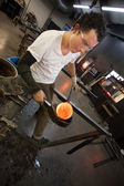 Man Working with Hot Glass — Stock Photo