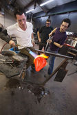 Glass Artists Working Together — Stock Photo