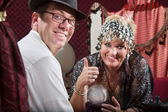 Feliz cliente e fortune teller — Fotografia Stock