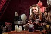 Man with Tarot Cards — Stock Photo
