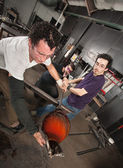 Blowing Into Hot Glass — Stock Photo