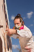 Aerosol Artist Painting — Stock Photo