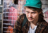 Suspicious Male with Hat — Stock Photo