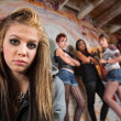 Stock Photo: Gang Intimidating Girl