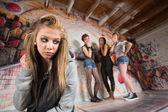 Cruel Gang Bullies Girl — Stock Photo