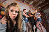 Gang Intimidating Girl — Stock Photo