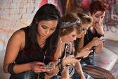 Mixed Group Texting — Stock Photo